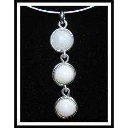 Collier pendentif quartz blanc