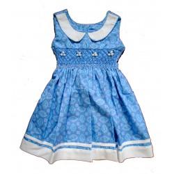 Robe enfant bleu fleuri